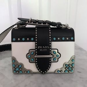 Prada Cahier bag back / white leather  turquoise